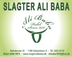 Slagter Ali Baba Adresse: Halmtorvet 10 1700 København V Tlf: 33316112 / 40585978 Email: alibaba1978@live.dk Donation: 5000 kr.